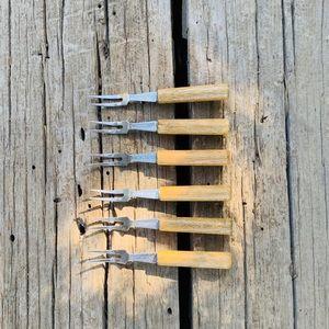 Vintage Wood Handle Cocktail Forks